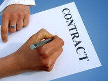 Writing contract. Woman with hands and white paper royalty free stock images