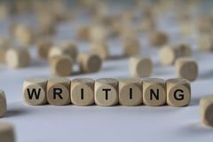 Writing - cube with letters, sign with wooden cubes Royalty Free Stock Photography