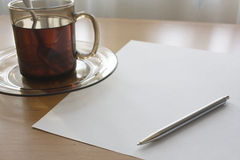 Writing for a cup of tea Royalty Free Stock Photography