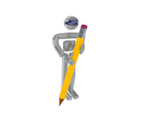 Writing. 3d render of an isolated robot holding a pencil ready to assist in writing Royalty Free Stock Photography