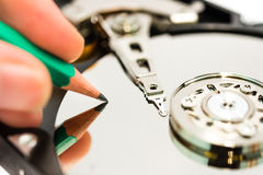 Writing data to harddisk Stock Image