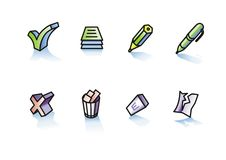 Writing and deleting. Set of icons on theme of writing and deleting Royalty Free Stock Images