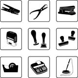 On the writing desk. Writing desk objects silhouettes in a nine square grid stock illustration