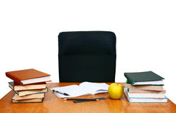 Writing desk with books and notebook Stock Photography