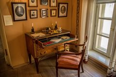 Writing Desk - Interior of The Alexander Pushkin Memorial Museum in Moscow. Detail - Writing Desk - Interior of The Alexander Pushkin Memorial Museum in Moscow royalty free stock images