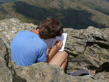 Writing a diary in Gennargentu National Park Royalty Free Stock Images