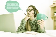 Free Writing Displaying Text Technical Support. Business Idea A Service Provided By A Hardware Or Software Company Callcenter Stock Images - 225854144