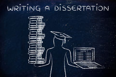 Writing a dissertation, graduate holding books and laptop with d Stock Photos