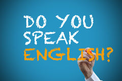 Writing do you speak english? Stock Image