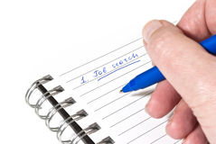 Writing down a job search plan Stock Images