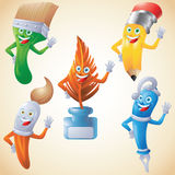 Writing, drawing and painting tools waving cartoon set Royalty Free Stock Images
