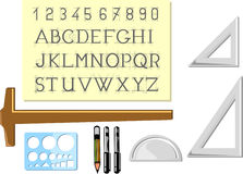 Writing and drawing tools. A set of writing and drawing tools, pens, rulers, angular rulers and stencils Stock Photo