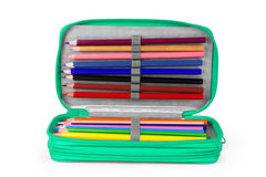 Writing and drawing tools in a pencil box for school, office and. Home Royalty Free Stock Images