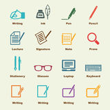 Writing elements. Vector infographic icons royalty free illustration