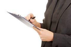 writing för affärsanmärkningskvinna Royaltyfri Fotografi