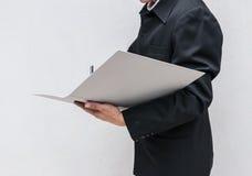 writing för arbete för anmärkning för affärsman Royaltyfri Foto