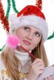 writing för hattirl santa Royaltyfri Foto