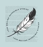 Writing feather emblem. Vector emblem feather on a background of newspaper text Royalty Free Stock Photos