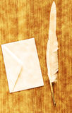 Writing feather and envelope Royalty Free Stock Photos