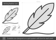 Writing feather line icon. Stock Photo