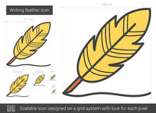 Writing feather line icon. Royalty Free Stock Images