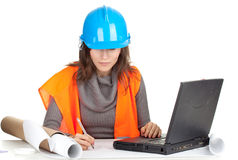 Writing female architect Royalty Free Stock Photography