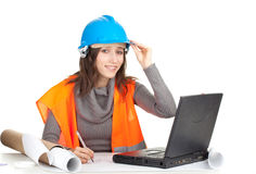 Writing female architect or engineer Stock Image