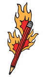 Writing on fire. Red cartoon pencil catching fire Royalty Free Stock Photos