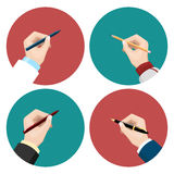 Writing flat icons set. Flat icons with writing left-hander and right-hander vector set Royalty Free Stock Images