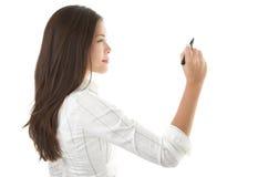 writing för affärskvinnakopieringsavstånd Royaltyfri Foto