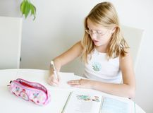 Writing girl royalty free stock images