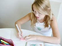 Writing girl Royalty Free Stock Photos