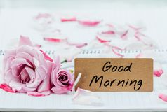 Writing good morning on card Stock Image