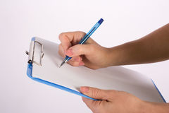 Writing hand. Hand writing business ideas with pen Stock Photography