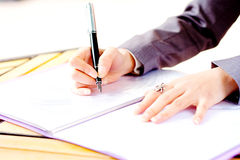 Are writing hand Royalty Free Stock Photo
