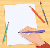 Writing hand. Illustration of a writing or drawing hand Stock Images