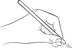 Writing hand with ink pen. Drawing left hand, hand drawn vector icon stock illustration