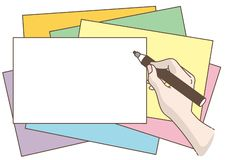 Writing hand - Magic pen and card royalty free illustration