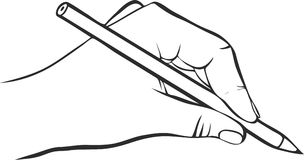 Writing hand with pencil Stock Images