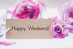 Writing happy weekend on card Royalty Free Stock Image