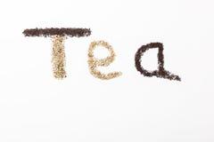 Writing herbata Zdjęcie Royalty Free
