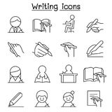Writing icon set in thin line style Stock Photography