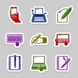Writing icon set Royalty Free Stock Photos