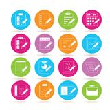 Writing icons. Collection of 16 writing icons in colorful buttons stock illustration