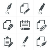 Writing icons. Writing and news paper design set vector illustration