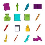Writing icons doodle set Royalty Free Stock Photos