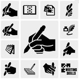 Writing icons set on gray. Writing icons set on grey background.EPS file available stock illustration