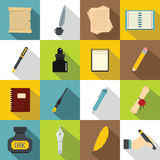 Writing icons set items, flat style. Writing icons set items. Flat illustration of 16 writing items vector icons for web stock illustration