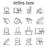 Writing ikona ustawiająca w cienkim kreskowym stylu Fotografia Stock