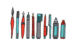 Writing instruments cartoon set. Cartoon illustration of many writing instruments stock illustration